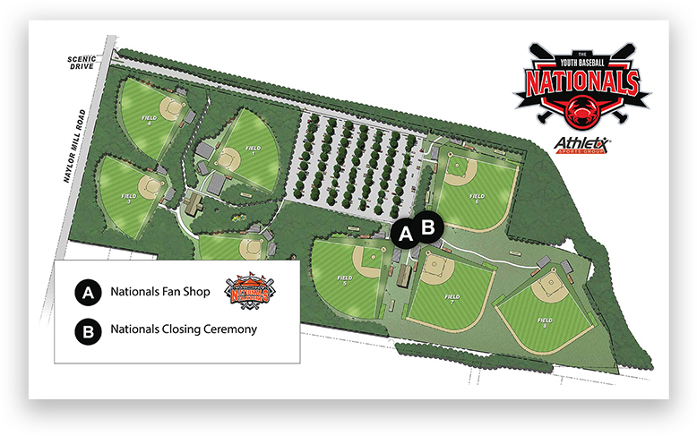 Youth Baseball Nationals Ocean City Tournament Event Map